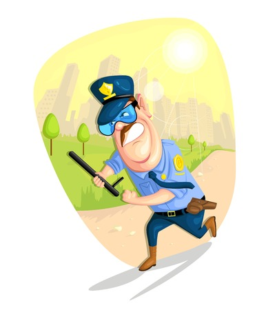 warden: illustration of security guard in vector