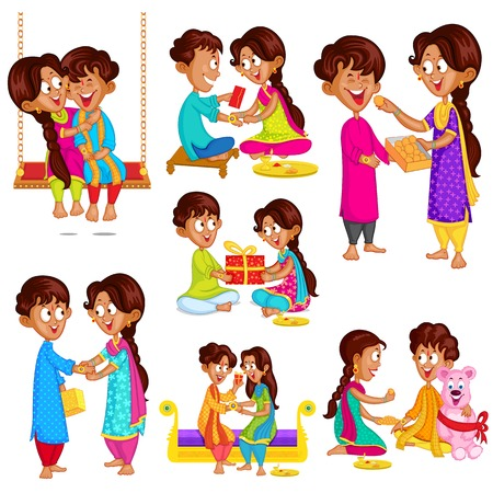Brother and Sister in Raksha Bandhan Vector