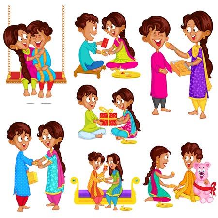 Hermano y hermana en Raksha Bandhan