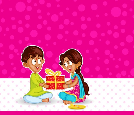 brother and sister: Brother and Sister in Raksha Bandhan Illustration