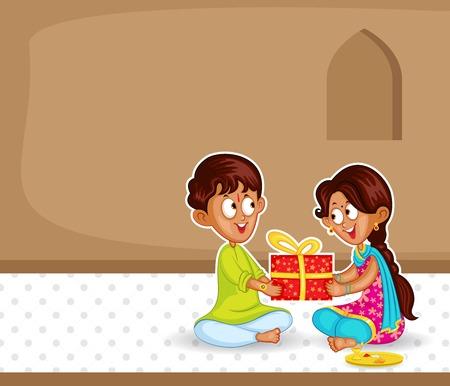 raksha: Brother and Sister in Raksha Bandhan Illustration
