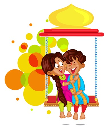 Brother and Sister in Raksha Bandhan Иллюстрация