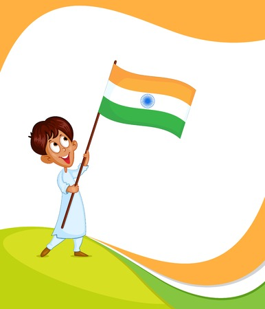 hoisting: Indian boy hoisting flag of India