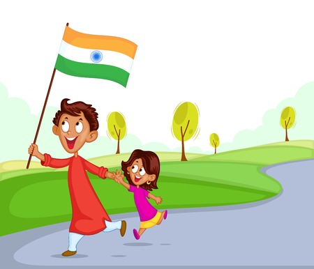 india people: Indian brother and sister with flag of India Illustration