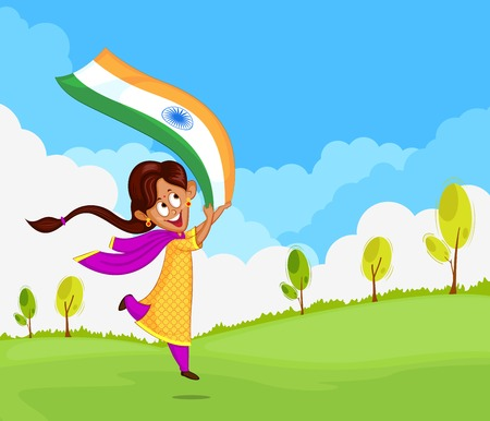 country girl: Indian girl waving flag of India