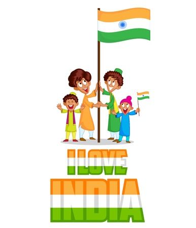 hoisting: Indian kid hoisting flag of India