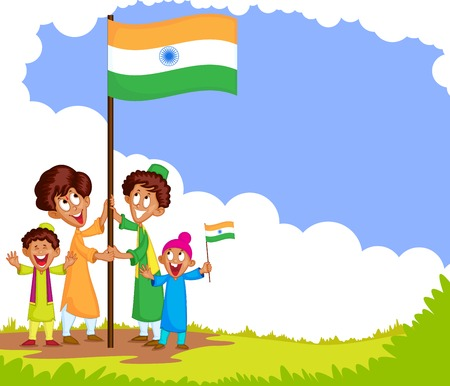 15 august: Indian kid hoisting flag of India