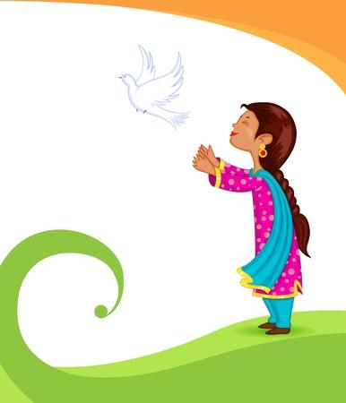 releasing: Girl releasing pigeon Illustration