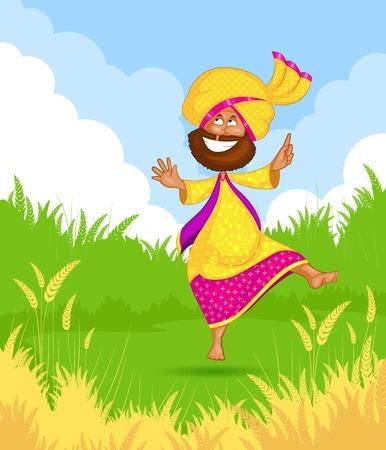 Sikh man doing Bhangra dance Vector