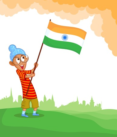 hoisting: Sikh boy hoisting Indian flag
