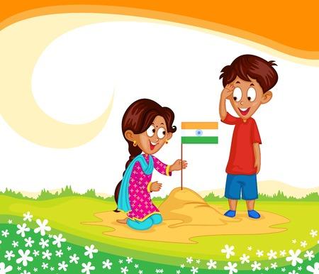 Hermano indio y hermana con la bandera de la India