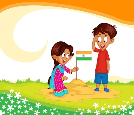 indian boy: Indian brother and sister with flag of India Illustration