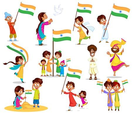 インド: インドの旗とのインドの子供  イラスト・ベクター素材