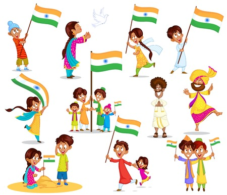 Indian kid with flag of India Vector