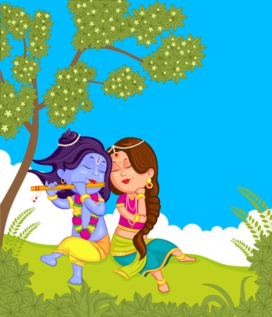radha: Krishna Janmashtami background in vector