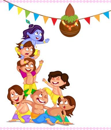 Krishna Janmashtami achtergrond in vector Stock Illustratie