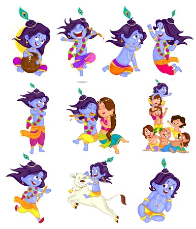 Krishna Janmashtami background in vector Vector