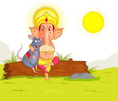 indian festival: Lord Ganesha in vector for Happy Ganesh Chaturthi