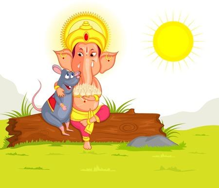 lord ganesha: Se�or Ganesha en el vector de feliz Ganesh Chaturthi Vectores
