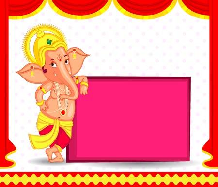 Señor Ganesha en el vector de feliz Ganesh Chaturthi Vectores