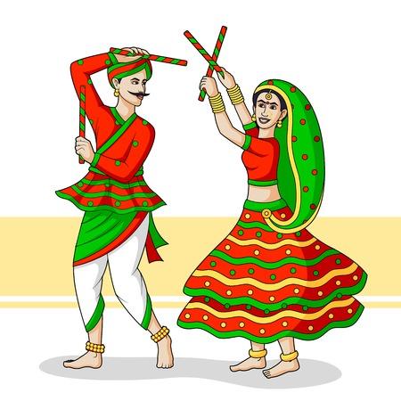 navratri: Couple playing Dandiya