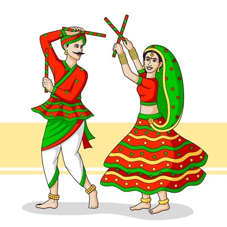 gujarat: Couple playing Dandiya