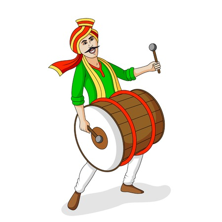 People playing dhol tasha in Indian festival Vector