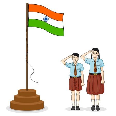 bandera de la india: Estudiantes indios que saludan la bandera de la India