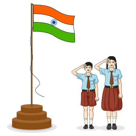 Indian students saluting flag of India Vector