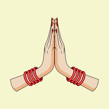 Benvenuto gesto delle mani della donna indiana Archivio Fotografico - 31267934