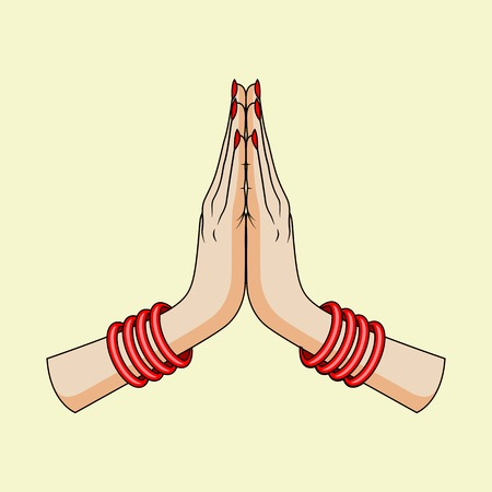 namaste: Welcome gesture of hands of Indian woman Illustration
