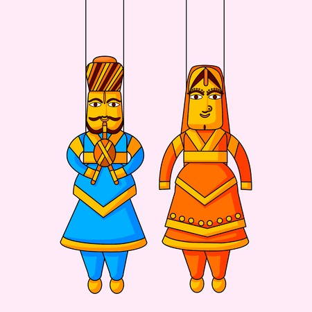 Indian puppet of king and queen Vector
