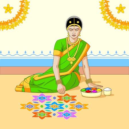 Woman making rangoli for Indian festival Vector
