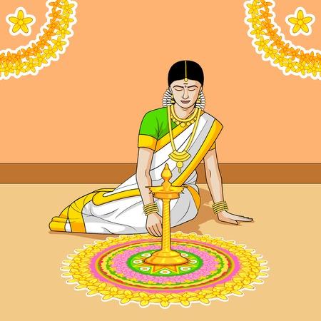pookolam: Woman making rangoli for Indian festival Illustration