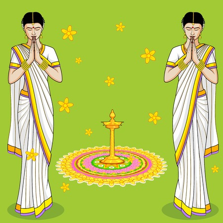namaskar: Indian Woman in welcome gesture
