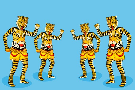 kerala culture: Puli Kali, tiger dance for Onam Illustration
