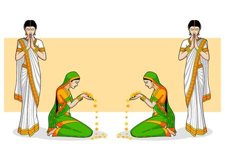 Indian Woman in welcome gesture Vector