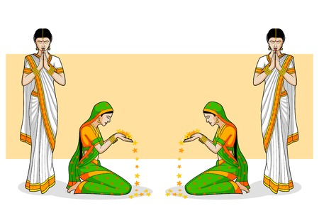 Indische vrouw in welkom gebaar