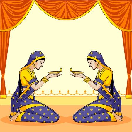 ganpati: Indian lady with diwali diya