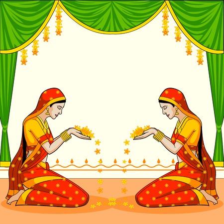 꽃과 함께 환영 인도 여자 일러스트