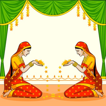Indian woman welcoming with flower Ilustracja