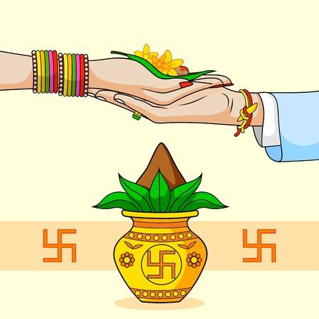 La novia y el novio en la boda hindú india Ilustración de vector