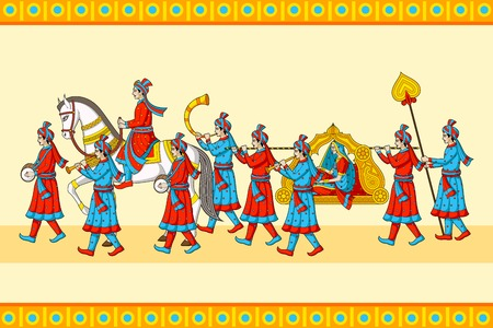 traditional custom: Indian wedding baraat ceremony Illustration