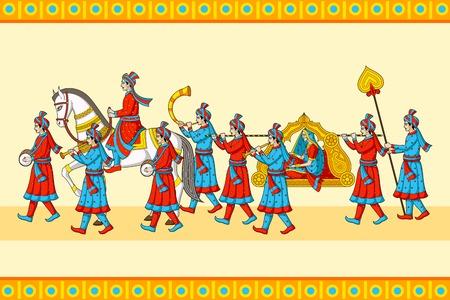 Indian wedding baraat ceremony Illustration