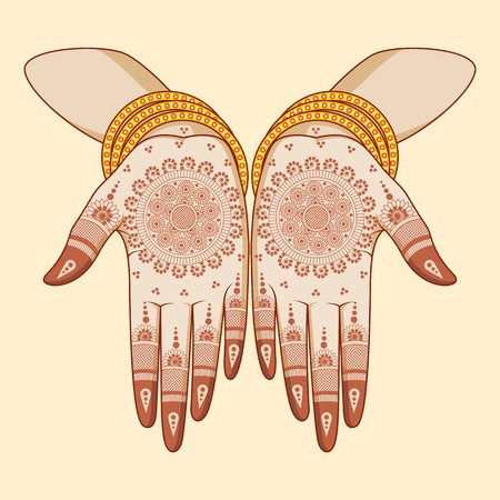 ceremonial makeup: Indian bride with mehandi in hand Illustration