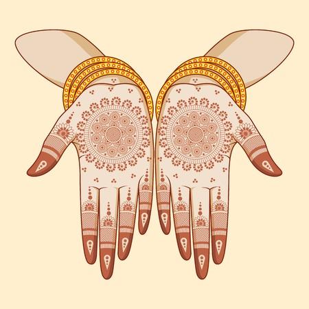 Novia india con mehandi en la mano Foto de archivo - 31268101