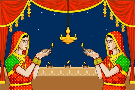 Indian lady with diwali diya Vector