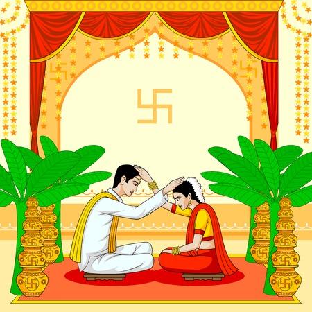 La novia y el novio en la boda hindú india