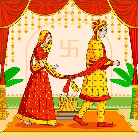 Ženich a nevěsta v indické hinduistické Svatba Ilustrace