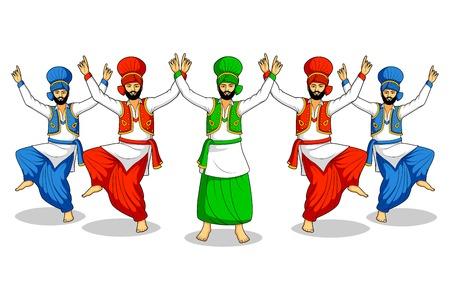 Sikh doing Bhangra Vector